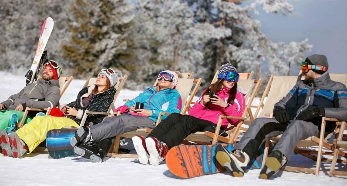 wintersport relaxen in de zon